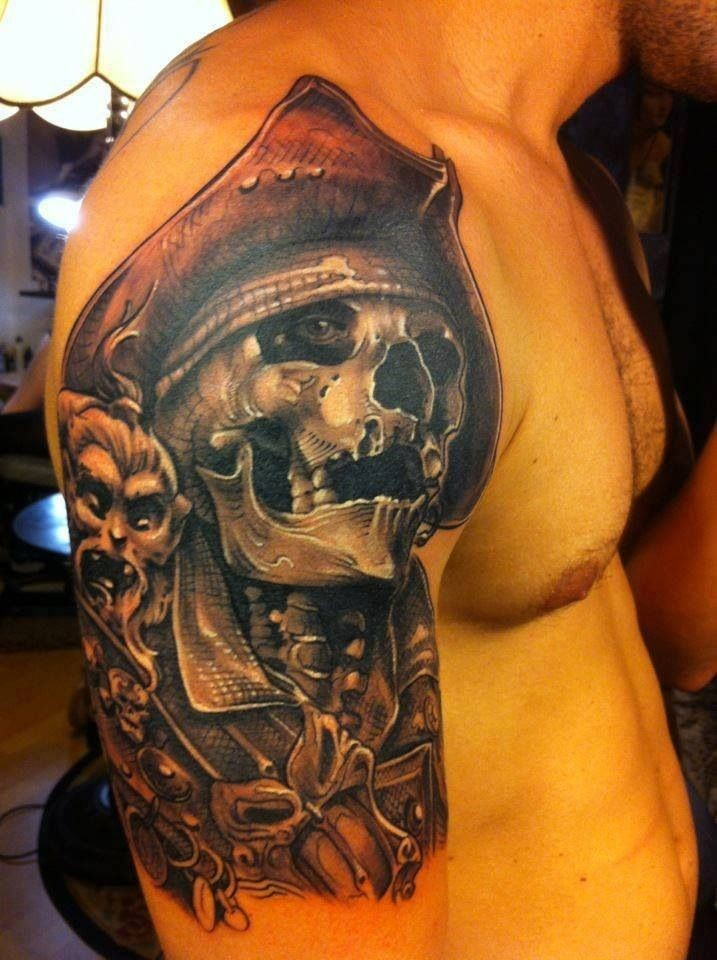 New school pirate skull tattoo - photo#10