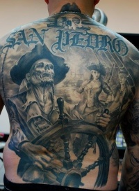 Dead pirate large tattoo on back by carlos torres