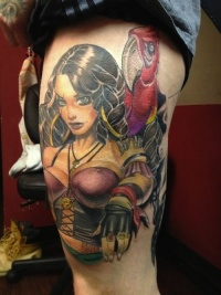 Girl pirate with a parrot on  shoulder by matt difa