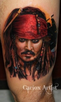 Great jack sparrow portrait tattoo by carlox angarita