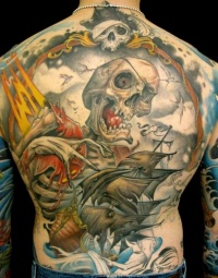 Pirate ghost ship with a dead man tattoo on back by curtis burgess