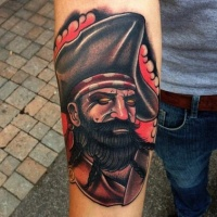 Pirate in a cocked hat tattoo on arm by mike stockings