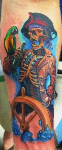 Pirate skeleton with parrot tattoo by derek raulerson